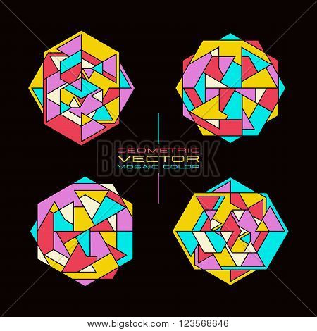 Set Of Vector Geometric Rosette
