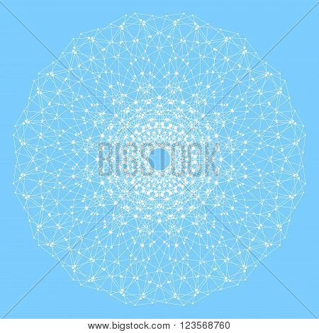 Geometric abstract lattice with connected line and dots. Round grey form . Graphic composition for your design. Vector illustration.