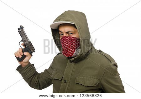 Masked man in criminal concept on white