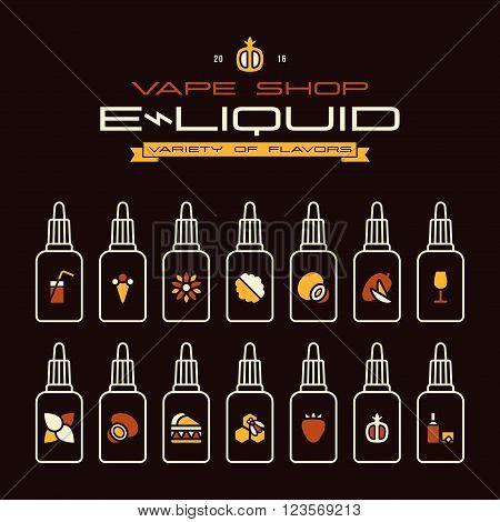 Vape Shop E-liquid Flavors Icons Set In Flat Style