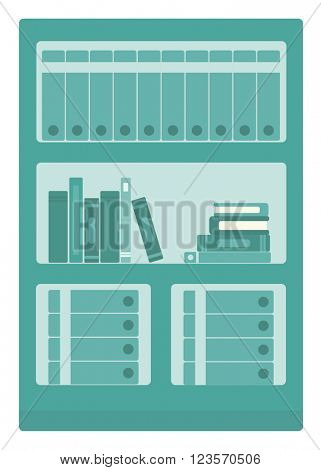 Office shelves with folders