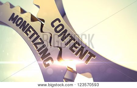 Content Monetizing - Technical Design. Golden Metallic Cog Gears with Content Monetizing Concept. Content Monetizing - Concept. Content Monetizing on the Mechanism of Golden Metallic Cog Gears. 3D.
