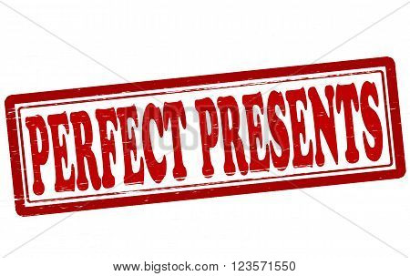 Stamp with text perfect presents inside vector illustration