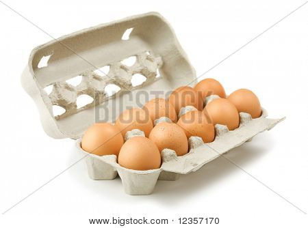 Carton of eggs on white background