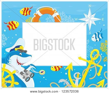 Vector horizontal frame border with a shark, a steering wheel, an anchor and a lifebuoy from a sunken ship