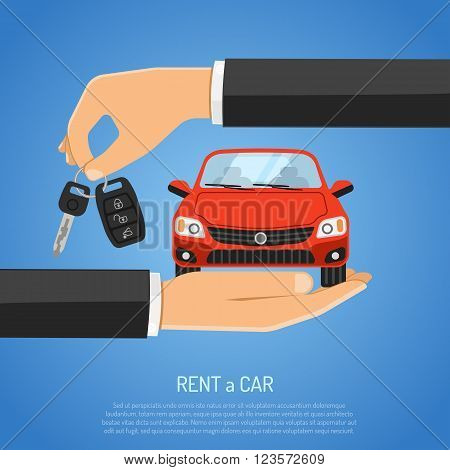Rent Car Concept for Poster, Web Site, Advertising like Hand, Car and Key.
