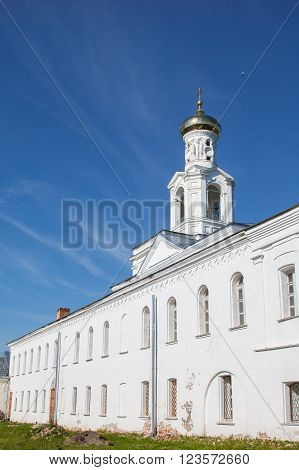 St. George's monastery in sity Veliky Novgorod, orthodox Christian Church. The Orthodox religion of Russia. Monastery's oldest Church buildings in Russia in 1030 year. White Church with blue domes.
