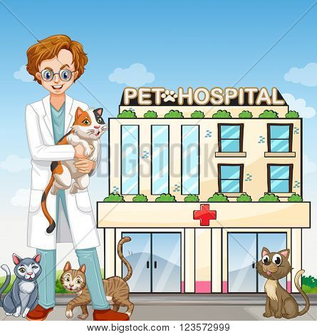 Male vet and cats at the pet hospital illustration