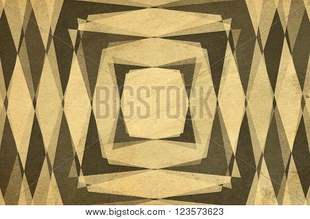Retro sepia squares and diamond shapes pattern