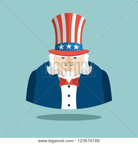 Uncle Sam Icon. Patriotic American Hero. Usa National Male. Illustration For Independence Day Americ