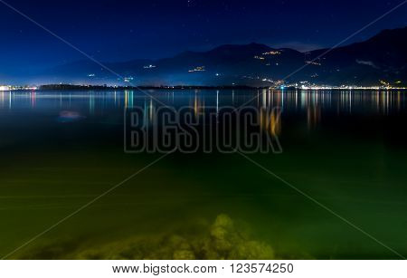 Lovere, Iseo Lake colorful lights by night