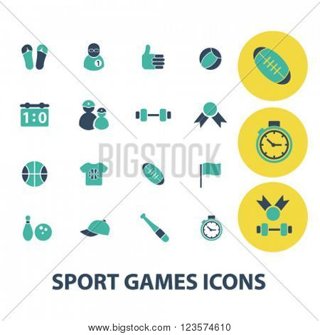 sport, games, gym, fitness icons