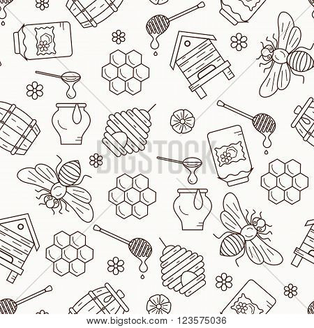Honey seamless pattern illustration. Honey vector symbols. Bee, honey, bee house, honeycomb, beehive. Outline style honey seamless pattern. Vector icon honey seamless pattern. Honey illustration