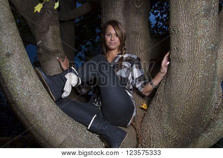 twenty something girl sitting on a tree branch