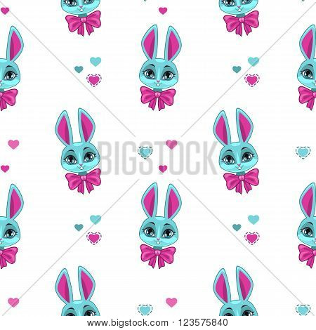 Pretty seamless pattern with cute bunny face on white, vector girlish background