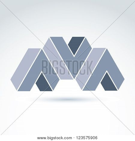 Vector Abstract Element Created From Checkmarks And Three V Signs. Geometric Symbol Isolated On Whit
