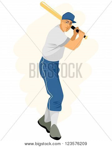 Vector illustration of a baseball player with bat
