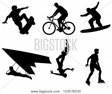 Vector illustration of a six teenagers silhouette