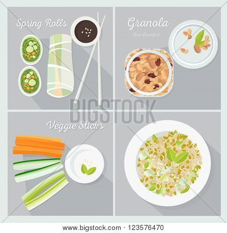 Vegetarian dishes. Set of vector illustrations. Flat lay.