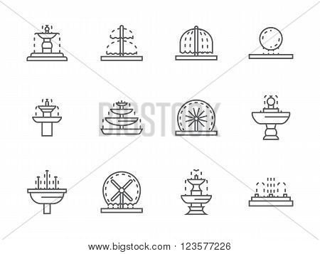 Different types of decorative fountains. Park and gardens small architecture. Outdoors and interior decor elements. Collection of black simple line vector icons. Elements for web design and mobile.