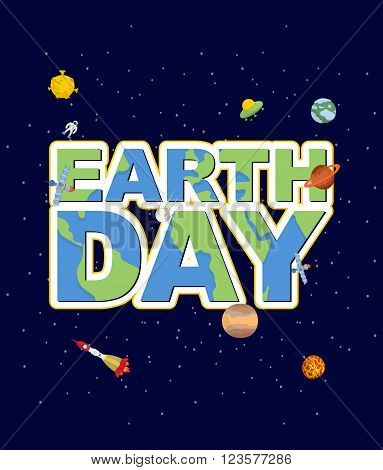Earth Day Emblem. Logo For Holidays Of  Earth. Silhouette Of Continents And Oceans In Text. Earth In