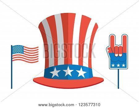 Set For Elections In America. Uncle Sam Hat. American Flag. Set For Political Debate In United State