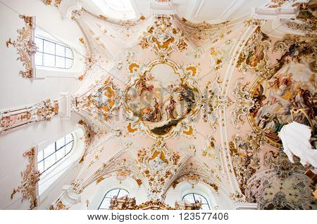 ROTTENBUCH GERMANY - JUNE 18: Ceiling of the Rottenbuch Abbey church (Kloster Rottenbuch) in romanesque style on june 18 2013 in Rottenbuch Germany.