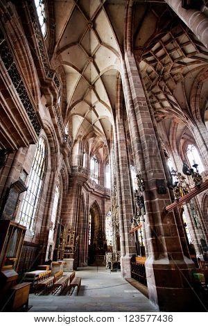 NUREMBERG, GERMANY - JUNE 20: Interior of St. Lorenz (St. Lawrence) church on june 20, 2013 in Nuremberg, Germany.
