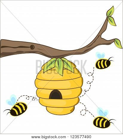 The bees fly out of a beehive hanging from a tree branch. vector illustration