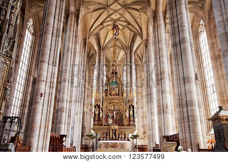 DINKELSBUHL GERMANY - JUNE 22: Interior of gothic St. George's Minster on june 22 2013 in Dinkelsbühl Germany.