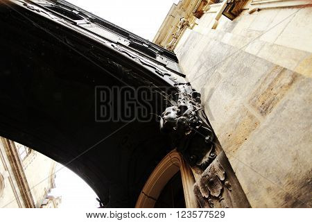 DRESDEN GERMANY - MAY 10: Fragment of the Catholic Church of the Royal Court of Saxony (Katholische Hofkirche) on may 10 2013 in Dresden Germany.