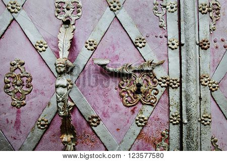 KLADRUBY CZECH REPUBLIC - JUNE 10: Old doorhandle of the Kladrubitsky Benedictine monastery - one of the oldest Czech monasteries founded in 1114 by Prince Vladislav I on june 10 2013 in Kladruby Czech republic.