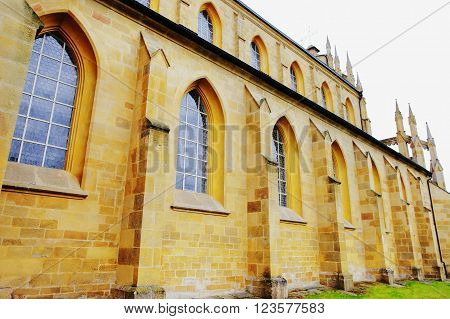 KLADRUBY CZECH REPUBLIC - JUNE 10: Walls of the Kladrubitsky Benedictine monastery - one of the oldest Czech monasteries founded in 1114 by Prince Vladislav I on june 10 2013 in Kladruby Czech republic.