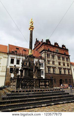 PLZEN CZECH REPUBLIC - JUNE 5: Renaissance town hall and plague column on the Republic square on june 5 2013 in Plzen Czech republic.