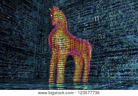 Computer Safety Concept, Trojan Horse In Electronic Environment, 3D Illustration