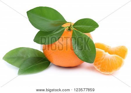 Mandarin Orange Fruit Tangerine Slices With Leaves Isolated