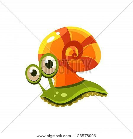 Snail. Cute Vector Illustration Collection of sea life