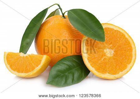 Orange Fruit Oranges Slices With Leaves Isolated On White
