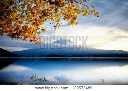 Mt fuji with autumn foliage at lake kawaguchi Japan