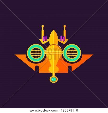 Alien Spaceship On Dark Background Simple Flat Vector Abstract Illustration