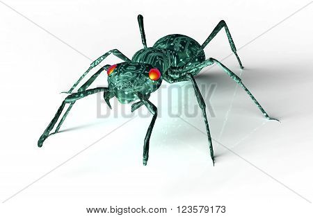Digital Safety Concept Computer Bug Isolated On White, 3D Illustration
