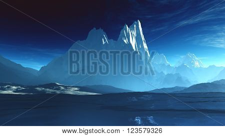 Antarctica Ice Field And Mountains