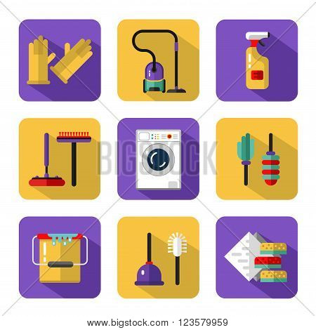 Vector icons set of housekeeping or household cleaning. Vacuum cleaner, washing machine, gloves, brush and mop, wiper, sponges, plunger, brush, bucket, broom. Housekeeping equipment and accessories.