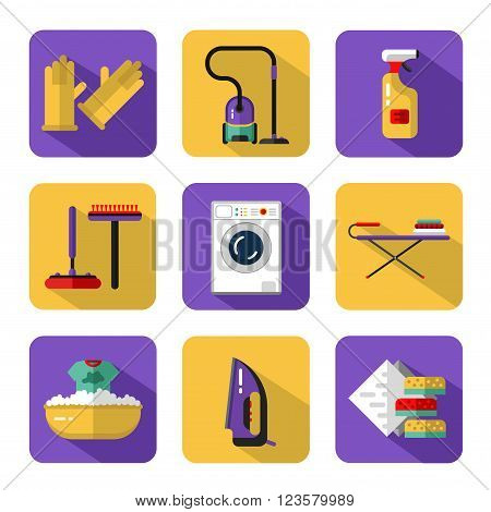 Vector icons set of housekeeping or household cleaning. Vacuum cleaner, washing machine, gloves, iron, ironing board, brush and mop, wiper, sponges. Housekeeping equipment and accessories.