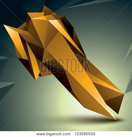 Geometric abstract 3D complicated object golden asymmetric element isolated.
