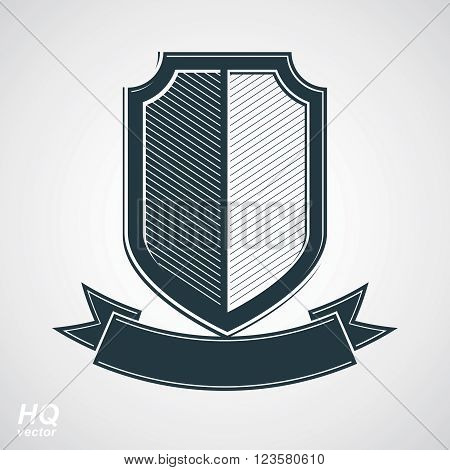 Military award icon. Vector grayscale defense shield with curvy ribbon protection design graphic element. Heraldic illustration on security theme, retro coat of arms.