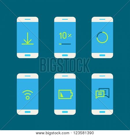 Modern gadget with different system messages. Lineart vector illustration
