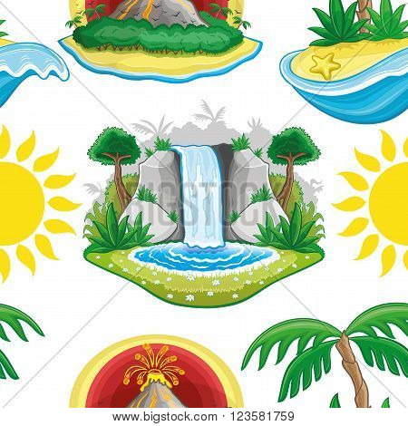 Sun, volcano, waterfall and tropical island on a white background.