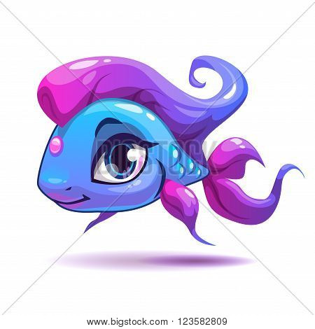 Cute cartoon blue girl fish character, isolated on white, beautiful vector girlish illustration