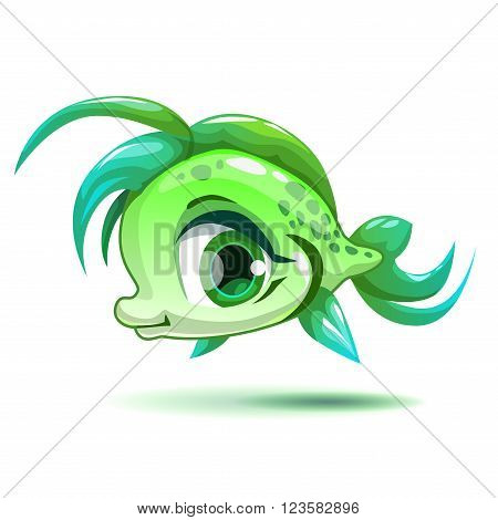 Cute cartoon little green girl fish character, isolated on white, beautiful vector girlish illustration